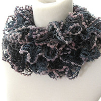 Shades of Lavender Ruffle Knit Scarf