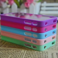 5pcs 5 Colors Finest Cute Bumper Back Ultra Clear Cover Case for iPhone 4 4S 4GS