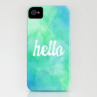 &quot;Hello&quot; Blue/Green Watercolor iPhone Case by StaciaE | Society6