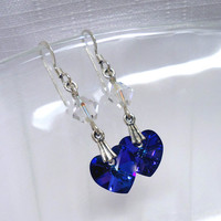 Crystal Heart Earrings, Purple Crystal Iridescent Earrings, Valentine's Day Gift