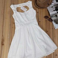 White Heart Cut Out Dress