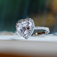 Bridal Set - 2ct Heart color change white to light Peach Champagne sapphire Platinum Diamond ring and matching band