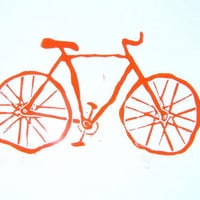 PRINT Vintage bicycle ORANGE LINOCUT 8x10 by thebigharumph