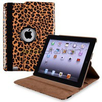 For iPad 2nd 3rd 4th Retina Display Brown Leopard 360 Degree Swivel Leather Case
