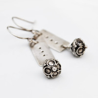 Sterling silver earrings with Bali beads by BlueberryCream on Etsy