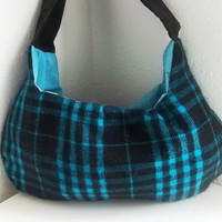 Hobo bag  Turquoise flannel  Medium Boho handbag with by ACAmour