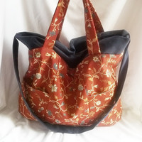 Rusty floral slouchy tote bag  recycled upcycled by ACAmour