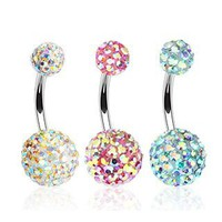 Value Pack of Aurora Borealis Crystal 316L Surgical Steel Navel Ring in Clear, Pink, and Blue - 14G