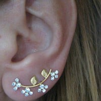 Ear Sweep Wrap - Cuff Earring with Swarovsky Gold filled - Nr. 5