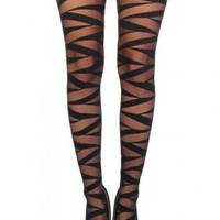Black Criss Cross Pattern Leggings