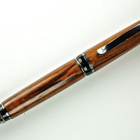 Handcrafted Wooden Pen Hand Turned Honduran Rose Wood and Black Titanium Hardware 377U