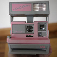 Vtg 80s Polaroid 600 COOL CAM Pink Grey Instant Camera Flash Ships International