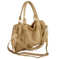EIDER Large Leatherette Gold Chain Decor Sturdy Office Tote Bag Satchel Handbag Purse