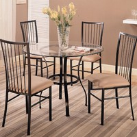 Layne 5-Piece Metal Base Glass Table Dining Set by Coaster Furniture