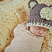 Organic Baby Hat Brown Bear ears Beanie with by daisiescrochet