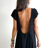 Black Scoop Back Short Sleeve Dress