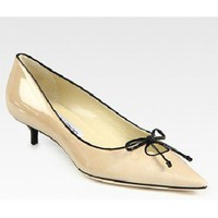 Jimmy Choo Ohia Patent Leather Point Toe Bow Pumps