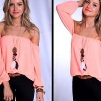 Pink Flowy Off the Shoulder Top