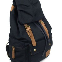 Canvas Backpack School Bag Great for School and Camping in BLACK with Genuine Leather Straps