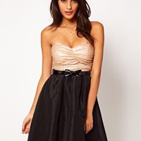 Rare Sequin Bandeau Prom Dress With Bow Belt at asos.com