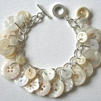 Pearly White & Cream Button Charm Bracelet - Folksy