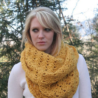 Mustard Yellow - Textured Cowl Scarf  Snood