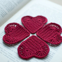 Crochet hearts applique decoration embellishment wine by SvetlanaN