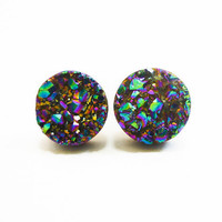 Rainbow Flame Druzy Stud Earrings n36 by AstralEYE on Etsy