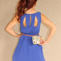 Cutout Back 'Sadie' Dress with Belt (Royal Blue) from Social Butterfly House