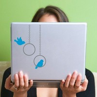 Modern Bird Swings Vinyl Laptop Decal