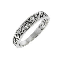 Ornate Scroll Sterling Silver Thumb Stack Ring
