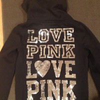 NEW VICTORIA'S SECRET PINK SEQUINS LOVE PINK SWEATER HOODIE JACKET SMALL