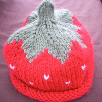 Hat Newborn Red Baby Hand knit Berry Cute by 2bloomsdesignstudio