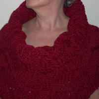 Shawl Cowl Scarf Wrap Red Knit Wool Blend by 2bloomsdesignstudio