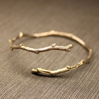 Twiggy Bangle in 14K Rose gold vermeil.