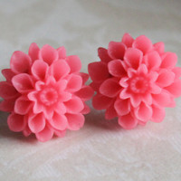 Dahlia Flower Earring Studs Cotton Candy Pink by IsaacandRebekah