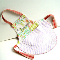 MINI APRON, Kitchen Decor, Wall Pocket, White Green Pink
