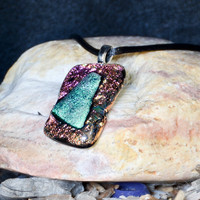 Dichroic glass pendant necklace pink  green copper by eyeseesage