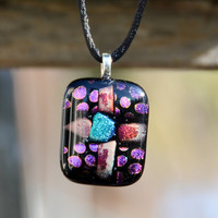 Dichroic fused glass pendant necklace purple green by eyeseesage