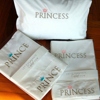 Prince/Princess embroidery, 3pcs baby bedding , crib sheet set ,best quality percale cotton,