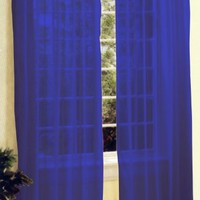 2 Pc Sheer Voile Window Curtain Panel Set Royal Blue