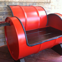 Recycled Drum Bench by ReGEARED on Etsy