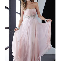 Gorgeous Pink Strapless Ruffle Chiffon Floor Length Homecoming Dress from SinoSpecial