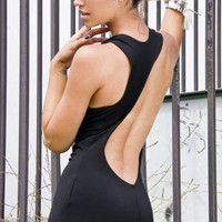 Black Little Black Dress - Black Maxi Backless Cut out | UsTrendy
