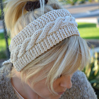 Cotton headband knit off white by socksandmittens on Etsy