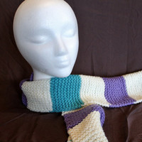 White Turquoise and Purple Striped Scarf by SunshineRoseDesign