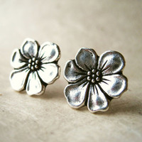 Silver Flower Earrings. Bridesmaid Jewelry. Apple Blossom Stud Earrings. Floral Silver Earrings. Silver Plated Pewter Grey Earrings. FSE1