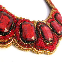 Bead Embroidery Bib Style Necklace collar Red by colorsoulartistry
