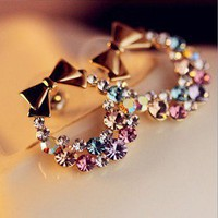 Exquisite flash bright fancy color bow earrings EH0035 from doshow4you