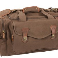 Brown Leather Canvas Travel Bag